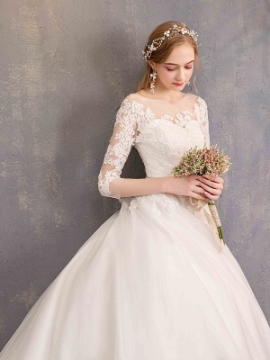 Ball Gown Wedding Dress Jewel Tulle Lace Half Sleeve Bridal Gowns Chapel Train_4