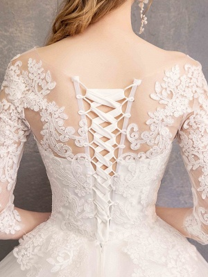 Ball Gown Wedding Dress Jewel Tulle Lace Half Sleeve Bridal Gowns Chapel Train_10