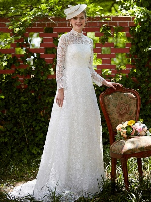 Illusion A-Line Wedding Dress Floral Lace Long Sleeve Bridal Gowns Court Train_6