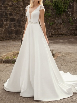 A-Line Wedding Dresses V-Neck Lace Chiffon Over Satin Cap Sleeve Bridal Gowns Country Plus Size Sweep Train_1