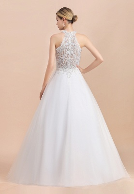 Exquisite High-Neck Lace Wedding Dress | Appliques Sequins Sleeveless Bridal Gowns_3