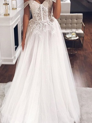 Country Plus Size A-Line Off Shoulder Wedding Dress Tulle Short Sleeve Bridal Gowns with Sweep Train_2