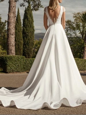 A-Line Wedding Dresses V-Neck Lace Chiffon Over Satin Cap Sleeve Bridal Gowns Country Plus Size Sweep Train_2