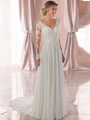 Elegant A-Line Chiffon Wedding Dresses Romantic V-Neck Lace Long Sleeve Bridal Gowns with Chapel Train_3