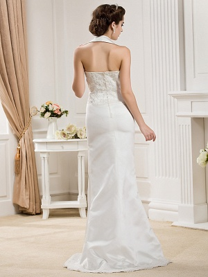 Affordable Mermaid Halter Wedding Dress Satin Sleeveless Bridal Gowns with Court Train_8