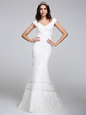 Romantic Mermaid Wedding Dress V-neck All Over Lace Cap Sleeve Sexy Backless Bridal Gowns Illusion Detail_2