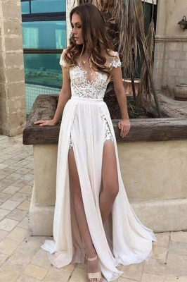 A-Line Side Split Sleeveless Wedding Dress V-neck Lace Chiffon Floor-Length Bridal Dresses