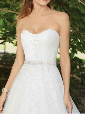 Sexy A-Line Wedding Dress Sweetheart Lace Sleeveless Bridal Gowns in Color Court Train_3