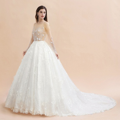 Luxury Ball Gown Tulle Lace Wedding Dress | Long Sleeves Appliques Pearls Bridal Gowns with Flowers_9