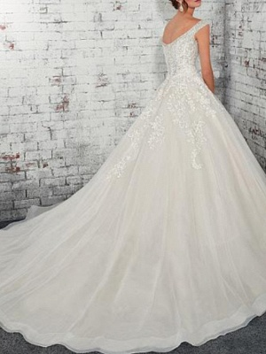 A-Line Wedding Dress Off Shoulder Lace Tulle Cap Sleeve Bridal Gowns Court Train_2