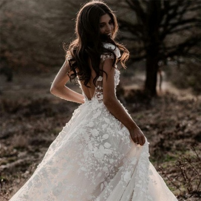 Glamorous Deep V-Neck Wedding Dress Cap Sleeves Tulle Bridal Gowns With Lace Appliques_4