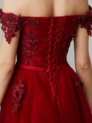 Glamorous Sleeveless Appliques Tulle A-Line Prom Dresses_17