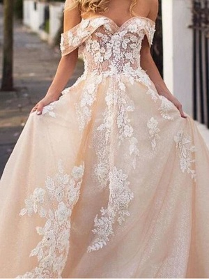 A-Line Wedding Dresses Jewel Lace Tulle Short Sleeve Bridal Gowns Bridal Gowns in Color Court Train_3