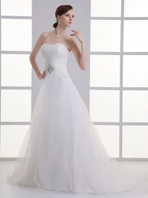 Boho A-Line Wedding Dress Sweetheart Lace Satin Strapless Bridal Gowns with Chapel Train_2