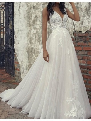 A-Line Wedding Dresses Plunging Neck Tulle Sleeveless Bridal Gowns Country Plus Size Court Train_1