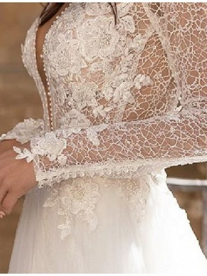 A-Line Wedding Dresses Plunging Neck Lace Tulle Long Sleeve Bridal Gowns Country Plus Size Court Train_3