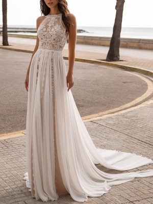 Boho A-Line Chiffon Wedding Dress Beach Tulle Lace Sleeveless Bridal Gowns On Sale