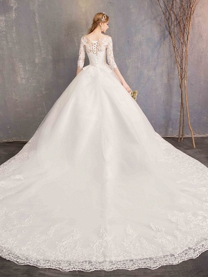 Ball Gown Wedding Dress Jewel Tulle Lace Half Sleeve Bridal Gowns Chapel Train_9