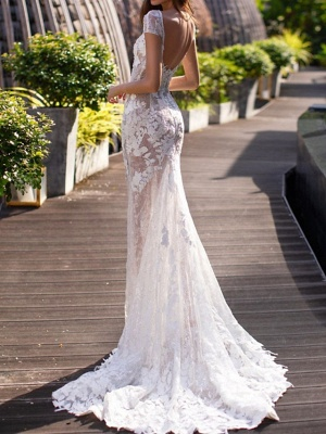 Mermaid Wedding Dresses Jewel Lace Tulle Short Sleeve Bridal Gowns Country Plus Size Sweep Train_2