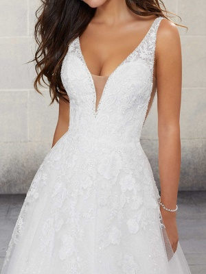 A-Line Wedding Dresses Spaghetti Strap Lace Tulle Sleeveless Bridal Gowns Country Plus Size Sweep Train_3