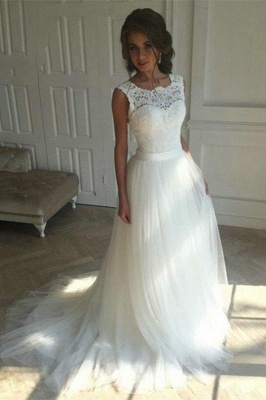 Elegant Jewel Lace TulleWedding Dress Boho Sleeveless Applqiues Bridal Gowns