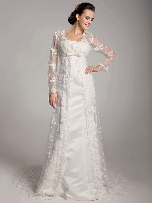 StylishSheath Wedding Dress Square Lace Satin Long Sleeve Bridal Gowns with Sweep Train