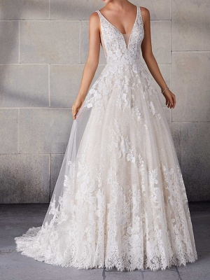 A-Line Wedding Dresses Spaghetti Strap Lace Tulle Sleeveless Bridal Gowns Country Plus Size Sweep Train_1
