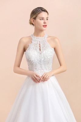 Exquisite High-Neck Lace Wedding Dress | Appliques Sequins Sleeveless Bridal Gowns_8