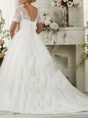 Affordable A-Line Wedding Dress Scoop Lace Short Sleeve Bridal Gowns Sweep Train_2