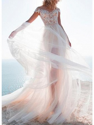 A-Line Wedding Dress Jewel Lace Tulle Cap Sleeve Bridal Gowns Sweep Train_1