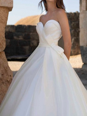 Country Plus Size A-Line Wedding Dress Sweetheart Sleeveless Bridal Gowns with Sweep Train_4