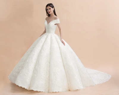 Luxury Ball Gown Lace Satin Sweetheart Wedding Dress | Sleeveless Bridal Gowns with V-Back_7