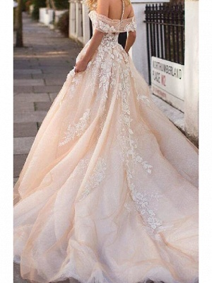 A-Line Wedding Dresses Jewel Lace Tulle Short Sleeve Bridal Gowns Bridal Gowns in Color Court Train_2