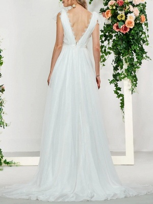 Sexy Backless A-Line V-neck Wedding Dress Lace Tulle Sleeveless Bridal Gowns with Sweep Train_2