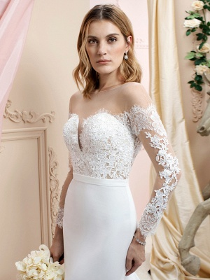 Country A line Chiffon Wedding Dress Long Sleeves Lace Appliques Bridal Gowns Online_3