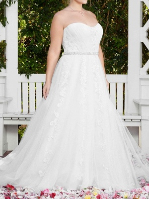 Sexy A-Line Wedding Dress Sweetheart Lace Sleeveless Bridal Gowns in Color Court Train_5