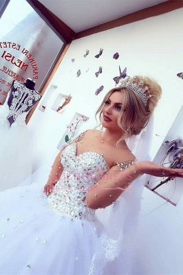 Brilliant Ball-Gown Wedding Dresses   Crystals Jewel Long-Sleeves Bridal Gowns_1
