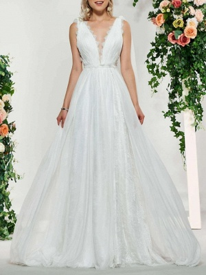 Sexy Backless A-Line V-neck Wedding Dress Lace Tulle Sleeveless Bridal Gowns with Sweep Train