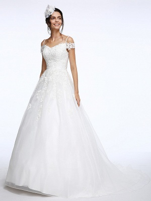 Ball Gown Wedding Dress Off Shoulder Organza Beaded Lace Short Sleeve Bridal Gowns with Court Train_6