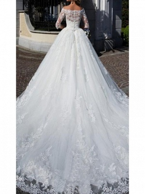 A-Line Wedding Dress Off Shoulder Lace Half Sleeve Bridal Gowns with Chapel Train_2