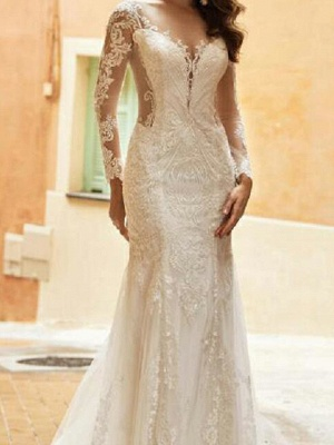 Mermaid Wedding Dresses V-Neck Tulle Polyester Long Sleeve Bridal Gowns Country Plus Size Sweep Train_2