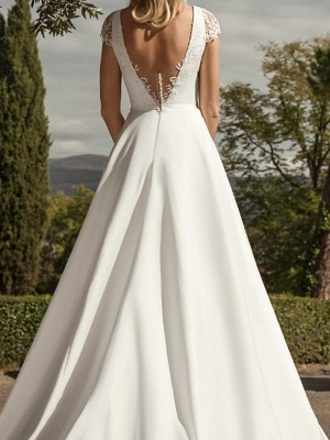 A-Line Wedding Dresses V-Neck Lace Chiffon Over Satin Cap Sleeve Bridal Gowns Country Plus Size Sweep Train_3
