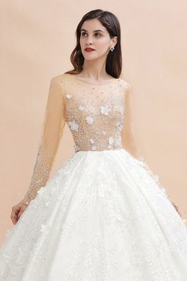 Luxury Ball Gown Tulle Lace Wedding Dress | Long Sleeves Appliques Pearls Bridal Gowns with Flowers_7