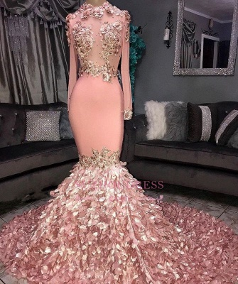 Luxurious Crew Long Sleeves Mermaid Appliques Prom Dresses | Sweep Train Ruffles Evening Gown On Sale BC1046_2