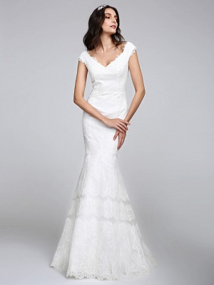 Romantic Mermaid Wedding Dress V-neck All Over Lace Cap Sleeve Sexy Backless Bridal Gowns Illusion Detail_4