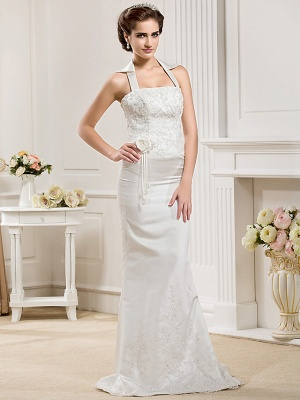Affordable Mermaid Halter Wedding Dress Satin Sleeveless Bridal Gowns with Court Train_7