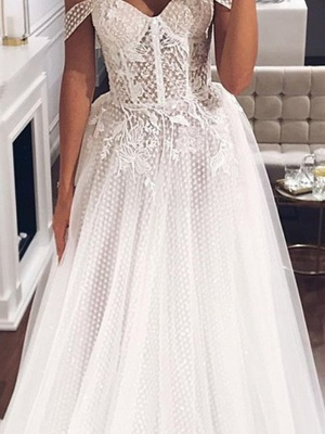 Country Plus Size A-Line Off Shoulder Wedding Dress Tulle Short Sleeve Bridal Gowns with Sweep Train_3