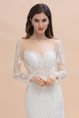 Gorgeous Jewel Tulle Lace Wedding Dress   Long Sleeves Appliques Mermaid Bridal Gowns_6
