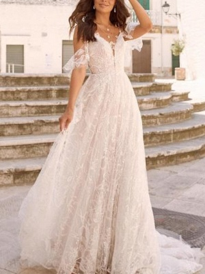 Boho A-Line Wedding Dresses V-Neck Chiffon Tulle Long Sleeve Bridal Gowns Plus Size Court Train Sweep Train