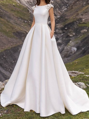 Country A-Line Wedding Dress Jewel Satin Cap Sleeve Plus Size Bridal Gowns Sweep Train